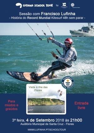 Dia 4 de setembro pelas 21h00, Sessão com Francisco Lufinha Record Mundial Kitesurf 48h sem parar