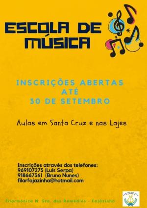 Inscrições para a Escola de Música abertas até dia 30 de setembro