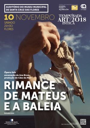 """""""Rimance de Mateus e a Baleia"""" dia 10 de novembro no Auditório do Museu Municipal de Santa Cruz"""