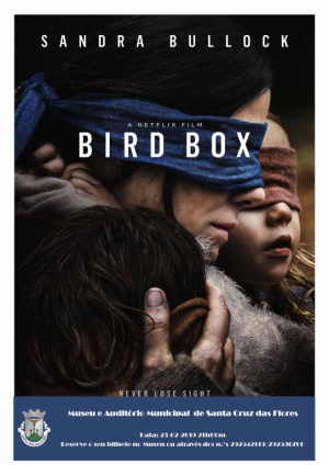 """Sessão de Cinema """"Bird Box"""" dia 23 de fevereiro pelas 21:00 no Museu e Auditório Municipal"""