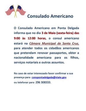 Aviso: Cancelamento Viagem Consul dos Estados Unidos da America às Flores