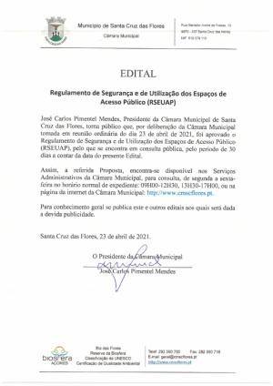 Consulta Pública - Regulamento de Segurança e de Utilização dos Espaços de Acesso Público (RSEUAP) de ambos os pavilhões propriedade deste Município – Pavilhão de Santa Cruz e Pavilh&