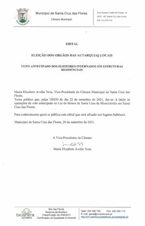 Edital: Eleições dos Órgãos Autárquicos - Voto Antecipado no Lar de Idosos